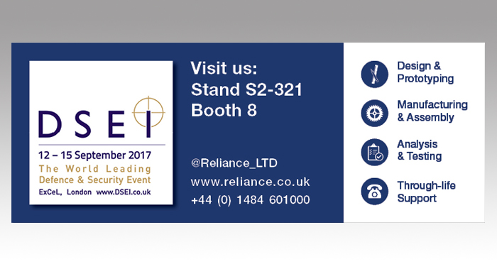 Reliance to Exhibit at DSEI 2017